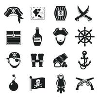 Conjunto de iconos pirata negro