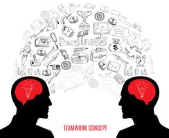 Business teamwork koncept ikoner komposition illustration