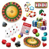 Kasino symboler sätta komposition poster