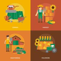 Farmer land flat icons composition