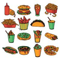 Fast food menu icons set couleur