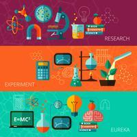 Conjunto de banners planos horizontales de concepto de ciencia