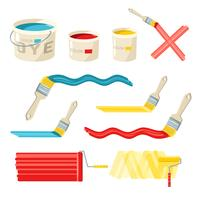 Roller And Paint Brushes vector