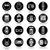 Wearable Technologie Icons schwarz