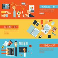 Conjunto de banners planos de manos concepto trabajo en equipo