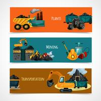 Mining Banners Set vector