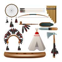 Conjunto indígena americano étnico