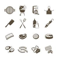 Barbecue et Grill Icons Set noir