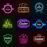Emblemas de cassino de néon