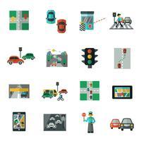 conjunto de ícones de tráfego plana