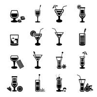 Black and white cocktail icons set