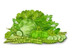 Mezcla de vegetales verdes sobre blanco