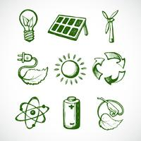 Icônes de croquis d'énergie verte