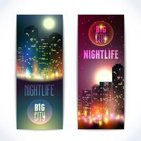 Banners verticales de ciudad por la noche.