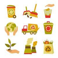 Ecología y conjunto de iconos de residuos