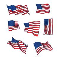 Doodled American Flags