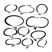 Dibujado a mano en blanco burbuja discurso, discurso cómico o conjunto de discurso de dibujos animados