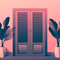 Ilustración de puertas vintage