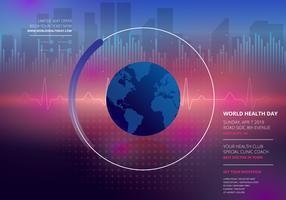 Día mundial de la salud en la ilustración de onda nueva de Retrowave