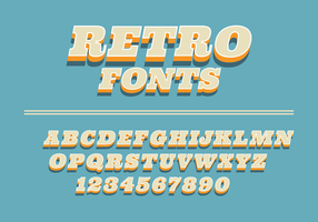 Retro Fonts On A Blue Background