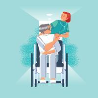 De gelukkige patiënt houdt de hand van de verzorger