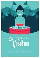 design de vetor de cartaz de vishu