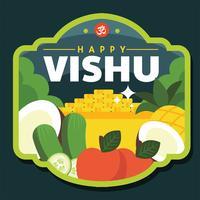 Glückliches Vishu-Abzeichen-Vektor-Design