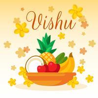 Vector de tarjeta de flor de Vishu