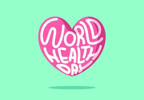 Pink Hearth World Health Day Vector