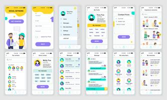 Satz von UI, UX, GUI-Bildschirmen App-Design-Designvorlage für soziale Netzwerke für mobile Apps, responsive Website-Wireframes. UI-Kit für Webdesign. Social Network Dashboard.