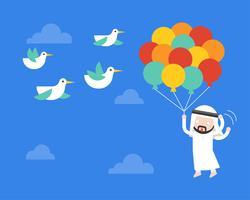 Volo dell'uomo d'affari arabo con il pallone in cielo, uccelli impauriti colpiscono il suo pallone