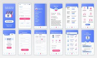 El conjunto de UI, UX, GUI muestra la plantilla de diseño plano de la aplicación de Medicina para aplicaciones móviles, sitios web de alambre sensibles. Diseño web kit de interfaz de usuario. Tablero de la medicina.