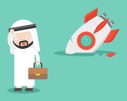 Hombre de negocios árabe con cohete roto, diseño plano, concepto fallido
