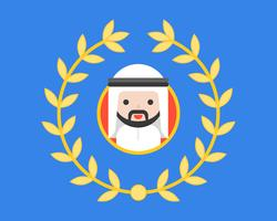 Arab businessman in circle frame and wreath