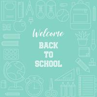 welcome back to school poster with outline school supplies theme vector
