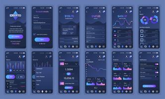 Set UI, UX, GUI skärmar Cryptocurrency app platt design mall för mobilappar, lyhörda webbplats wireframes. Webdesign UI-kit. Cryptocurrency Dashboard.