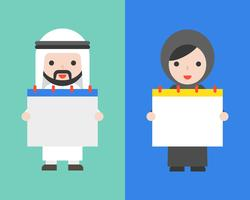 Arab businessman and arab woman holding blank calendar