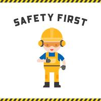 industrial security and protective equipment for worker illustration, flat design