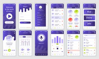 Set of UI, UX, GUI screens Music app flat design template for mobile apps, responsive website wireframes. Web design UI kit. Music Dashboard.