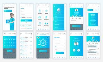 Set UI, UX, GUI-skärmar Medicinsk app platt designmall för mobila appar, lyhörda webbplats wireframes. Webdesign UI-kit. Medicin Dashboard.