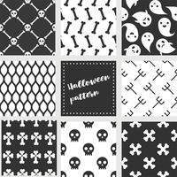 set of halloween seamless pattern, flat design