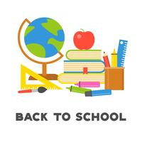 back to school poster and school supplies in flat design