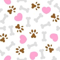seamless pattern i love dog theme, bone and foot print vector