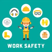 segurança industrial e equipamentos de proteção para ilustração de trabalhador, design plano