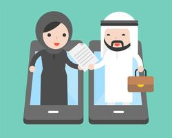 Arab Businessman and arab businesswoman trade document