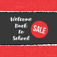 back to school sale poster on school supplies outline background vector