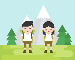 Hiking concept, cute hiker character with equipment vector