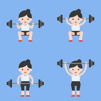 cute character weightlifter athlete with barbell, weight lifting set in flat style vector