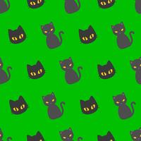 Black cat Halloween seamless pattern, flat design with clipping mask