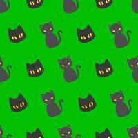 Svart katt Halloween sömlöst mönster, platt design med klippmask